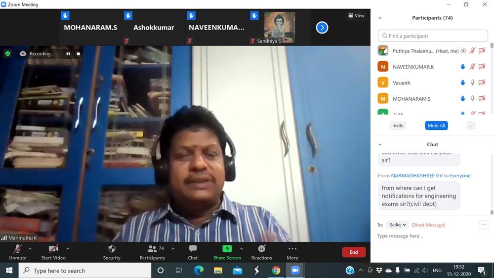 Webinar by Mr. Marimuthu, Trainer, Srivilliputhur